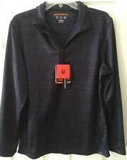 Hawke & Co- Mens' 1/4 Front Zipper Long Sleeve Pullover- Medium - Navy