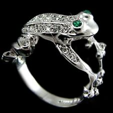 18K White Gold Filled AAA Zircon Crystal Ring Frog Mens Womens Christmas Ring