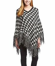 Peach Couture Warm Knit Womens Houndstooth Cape Batwing Fringe Tassels Poncho