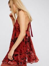NWT FREE PEOPLE Red Silk PaisleyTextured Print Tunic Blouse Top Mini Dress $128