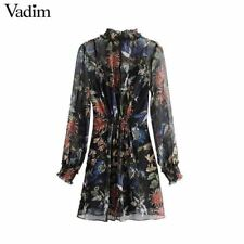Women Vintage Style Floral Printed Chiffon Fabric Two Piece Mini Dress