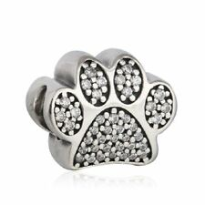 authentic sterling silver Pave Paw Prints Beads Clear CZ Animal Footprints Charm