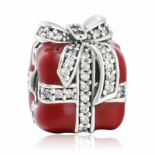 Authentic Sterling Silver bead Clear CZ Pave Bow Red Enamel Gift Box Charm beads