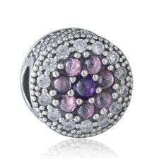 authentic Sterling Silver Charm Beads Mixed AAA Cubic Zirconia Crystal Stone