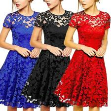 Plus Women's Lace Floral Prom Evening Party Bridesmaid Wedding Mini Dress B7N4