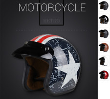 New Chopper Moto Open Face 3/4 Motorcycle Helmet DOT Cafe Racer Retro Vintage