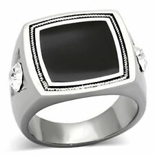 1182 BLACK MENS ONYX SIMULATED DIAMOND STAINLESS STEEL SIGNET RING SQUARE PINKY