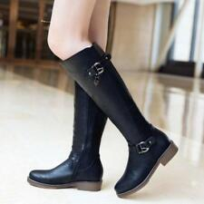 Womens PU Leather Equestrian Zip Up Flat Buckle Black Riding Boots-Size 6-11
