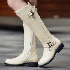 Womens PU Leather Equestrian Zip Up Flat Buckle Beige Riding Boots-Size 6-11