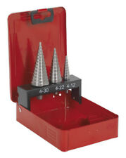 HSS M2 STEP DRILL BIT SET 3PC DOUBLE FLUTE FROM SEALEY