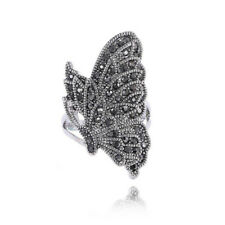 Finger Ring Fashion Black  Crystal Unique Women Vintage Butterfly Ring