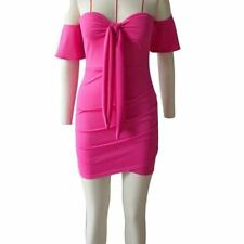 Women Strapless Off Shoulder Short Sleeve Knot Backless Mini Party Dress
