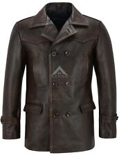 Men's Dr Who Real Cowhide Leather Jacket Black Rub Off Vintage WW2 Inspired Coat