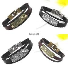 Casual Vintage Style Artificial Leather Letter Pattern Layered Bracelet OO55 01