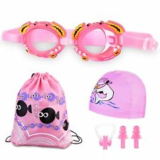 Blue Pink Swim Cap Swim Goggles Ear Plug Bag Set for Kids Waterproof Anti-fog