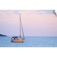 Wall Decal entitled Sailboat Moored In The Bay Off Korcula At Sunset. Dalmatian