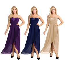 Womens Elegant Asymmetric Long Formal Evening Party Maxi Dresses Prom Ball Gown