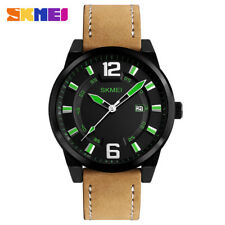 SKMEI Quartz Men Watches Leather Army Military Sport Wrist Watch Male For Man