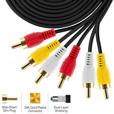 3RCA to 3RCA Cable Gold-Plated [Copper Shell] [Heavy Duty] Stereo Audio Cable