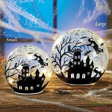 Witch Crackle Glass Table Lamp Halloween Decoration Globe Ball Mantel Decor 1pc