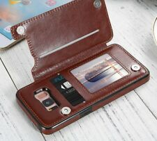 Leather Case For Samsung Galaxy Card Slot Stand Holder Wallet Case Retro Flip