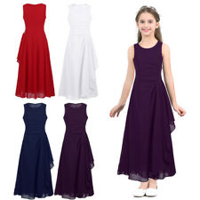 Kids Girls Chiffon Pleated Flower Girl Dress Princess Pageant Wedding Party Gown
