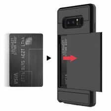 Slide Card Slot Holder Phone Case For Samsung Galaxy S8 S9 Plus S7 S6 Edge Note