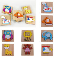 Kids Wooden Animal Vehicle Puzzle Pre-School Learning Jigsaw Toy