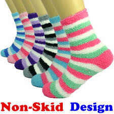 3-10 Pairs For Womens Soft Cozy Fuzzy Socks Non-Skid Striped Home Warm Slipper