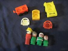 Vintage Fisher Price Little People Figures Chairs Taxi Wagon Lot 9