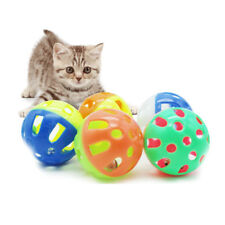 Plastic Cat Kitten Pet Play Balls With Jingle Bell Pounce Chase Rattle Toy Cute