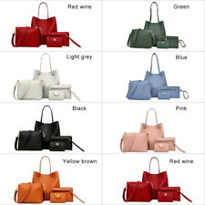 HOT 4Pcs/Set Women PU Leather Handbag Shoulder Bag Tote Purse Satchel Messenger