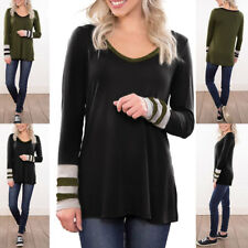 Women Casual V Neck Long Sleeve Shirt Striped Color Block Flowy Tunic Top Blouse
