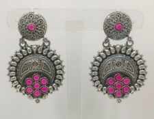 Designer Earrings Silver Oxidized Antique Jewelry Indian Stone Beautiful Hanging