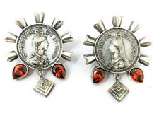 Antique Silver Studs Earrings Oxidized Indian Jewelry AD CZ Stone Ethnic Stylish