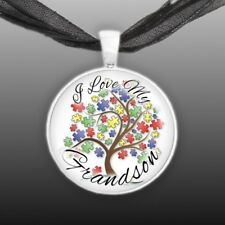 "I Love My Grandson Puzzle Piece Tree Autism Awareness 1"" Pendant Necklace ST"