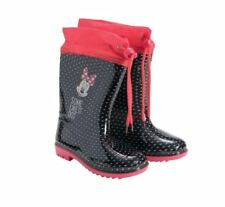 Disney Minnie Mouse Rubber Black & Red Rain Girls Boots With Shoelaces Eu Sizes