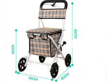 White Four Wheels Convenient Foldable Shopping Luggage Trolleys With Seat *