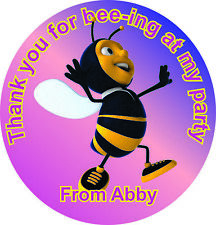 Bee personalised birthday party favour thank you stickers custom name
