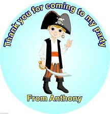 Pirate boy personalised name thank you birthday party favour stickers 12 pack