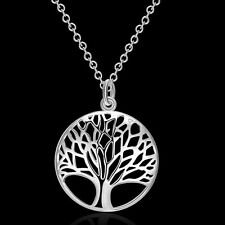 925 Silver Plated Tree of Life Necklace Charm Pendant& Earring Fashion Jewelry A