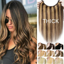 100% REMY Human Hair Remy Invisible Wire Crown Hair Piece Extensions All Colors