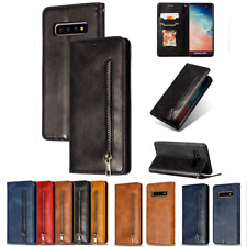 For SAMSUNG GALAXY S10 Plus S8 S9+ S10e Genuine LEATHER WALLET FLIP CASE COVER