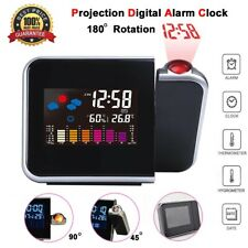 Projection LED Digital Alarm Clock Snooze Weather Thermometer LCD Color Display