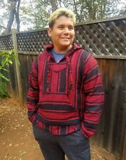 Mexican Baja Hoodie Jerga Pull-Over, Red w/ Black Stripes