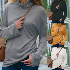 Fashion Womens Pullover Turtleneck Long Sleeve Autumn Slim Solid Blouse Tops New