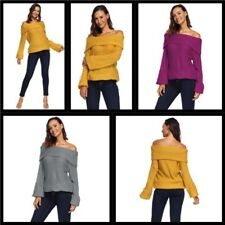Casual Knit Shirt Pullover T-Shirt Loose Off Shoulder Women's Sweater Knitted