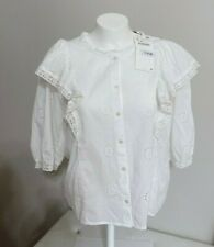 ZARA Ecru Ivory White FRILLED EYELET EMBROIDERED SHIRT blouse 7200/008 S Small