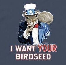"""Uncle Sam Squirrel """"I Want YOUR Birdseed"""" T-Shirt NWT"""