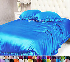1 PC 16MM 100% PURE SILK SATIN RUFFLED DUVET COMFORTER QUILT COVER ALL SIZE